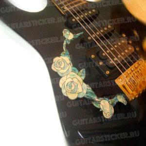 Наклейка белые розы на деку гитары