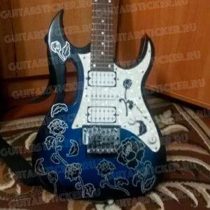 Комплект наклеек черная роза на гитару