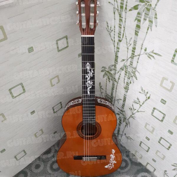 Купить наклейку с драконом на гриф гитары