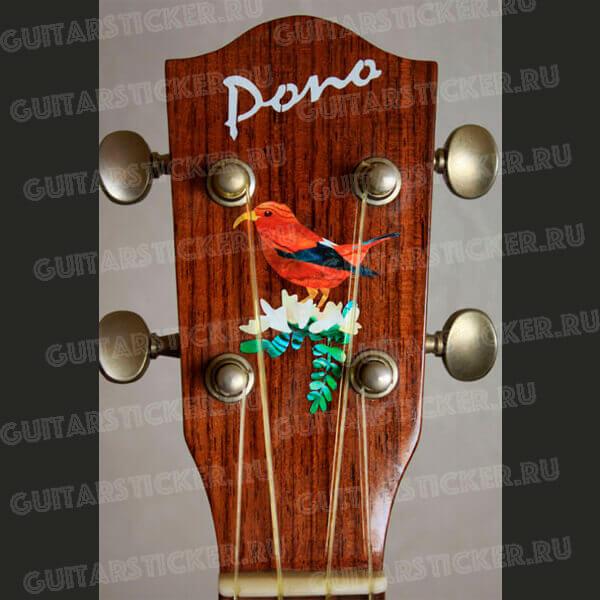 Виниловая наклейка на головку укулеле Гавайская цветочница 1