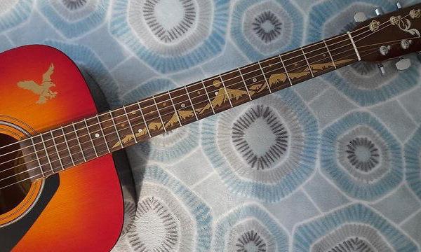 Наклейки горы на гриф гитары