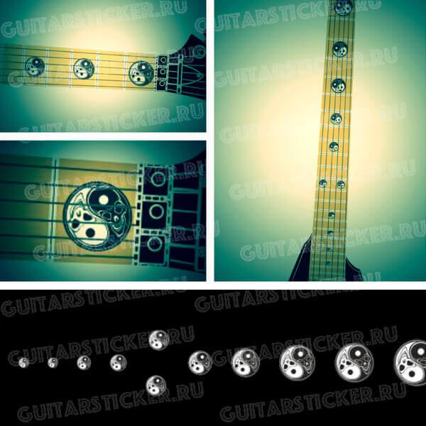 Комплект наклеек для гитары инь-янь из черепов