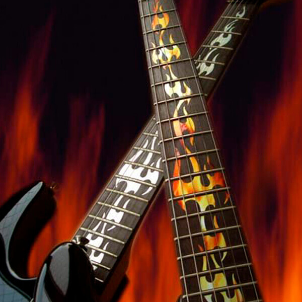 Наклейки на гриф гитары языки пламени