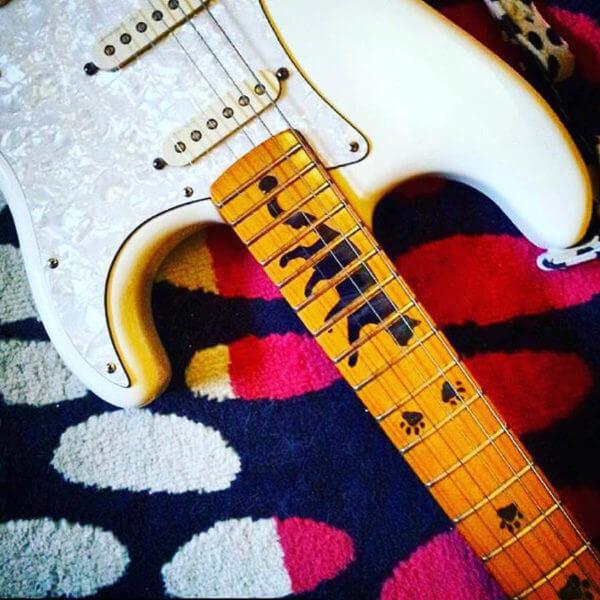 Купить виниловый комплект наклеек для грифа гитары с котом