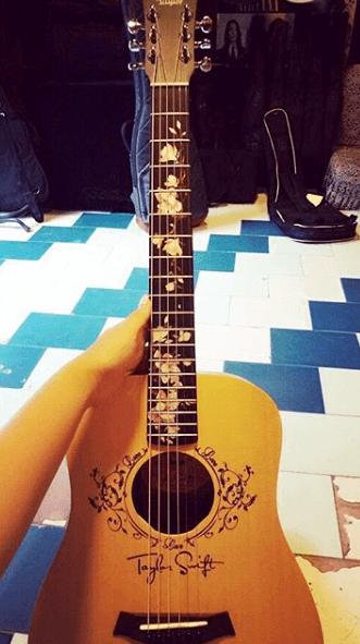 Украсить гриф гитары цветами наклейками магнолии