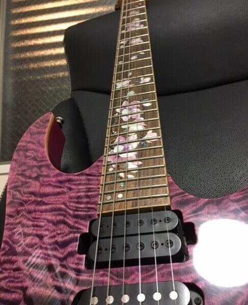 Комплект наклеек на гриф гитары в виде цветков магнолии