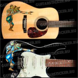 Наклейка на гитару в виде оборотня