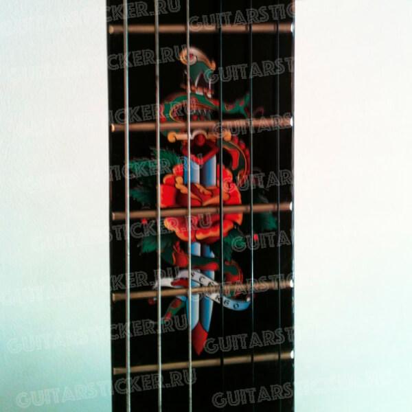 Наклейка на гриф гитары клинок и роза