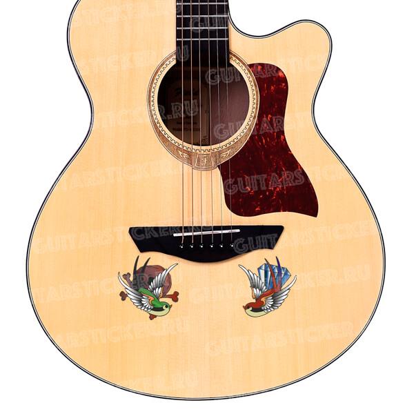 Купить наклейки соловьи и птицы на гитару