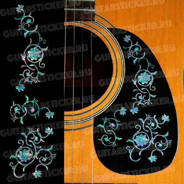 Комплект наклеек на пикгард акустической гитары восточный цветок