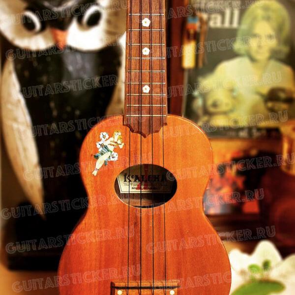 Купить наклейку на укулеле гавайская девушка
