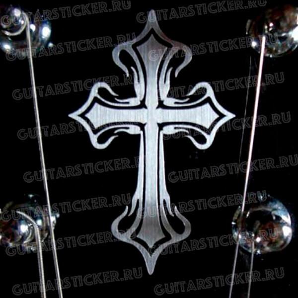 Наклейка на голову гитары племенной крест