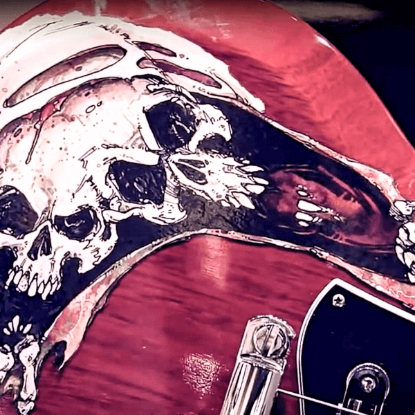 Купить наклейку большую на гитару с черепом
