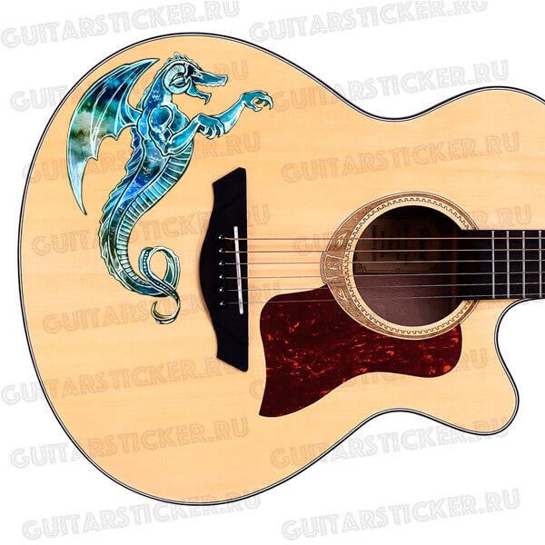 Виниловая наклейка на акустической гитаре в виде дракона