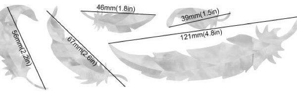 Размер наклеек перья