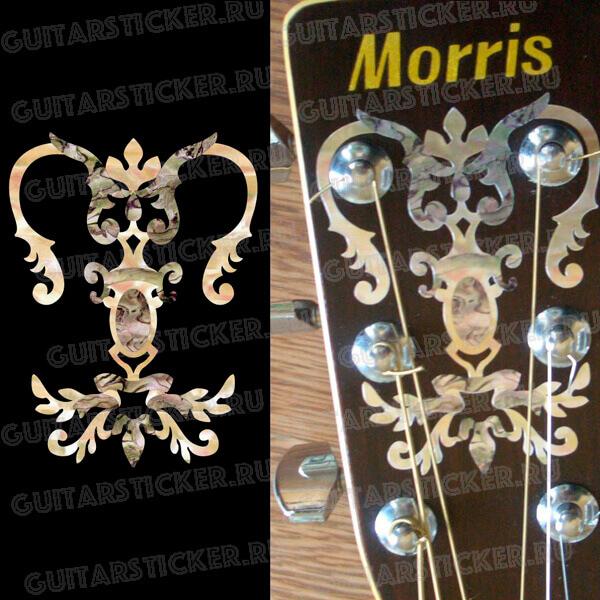 Наклейка в виде канделябра на головку гитары