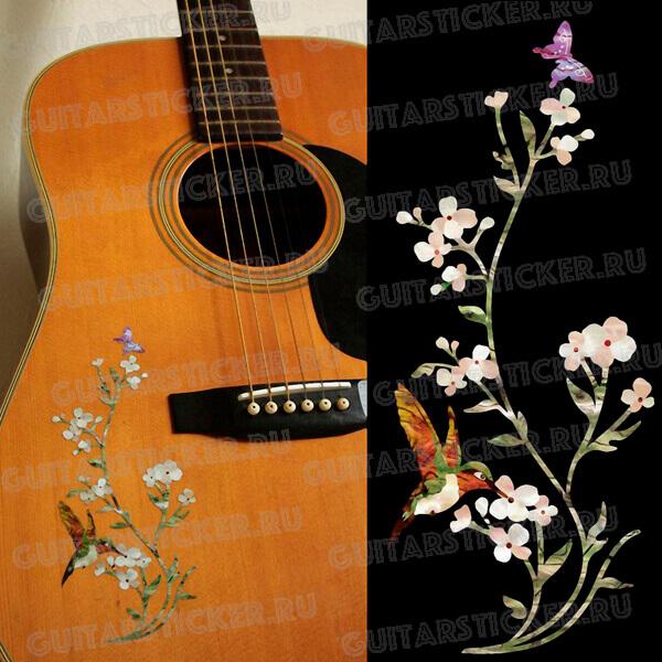 Купить наклейку на акустическую гитару в виде колибри