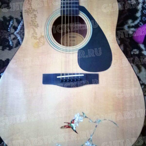Купить наклейку украшение на акустическую гитару колибри