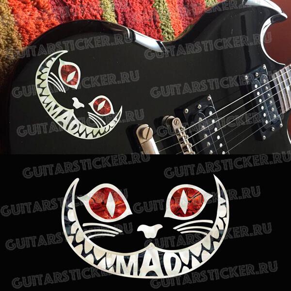 Наклейка чеширского кота на гитару цвет красный абалон