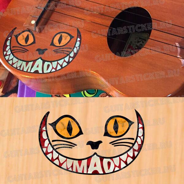 Купить наклейку чеширского кота на гитару цвет желтый абалон