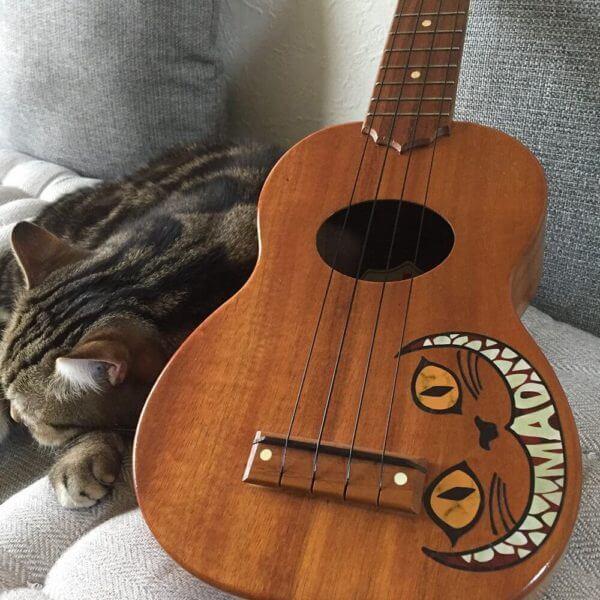 Красивая укулеле с чеширским котом