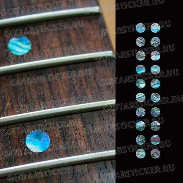 Наклейки на гриф точки цвета синий абалон