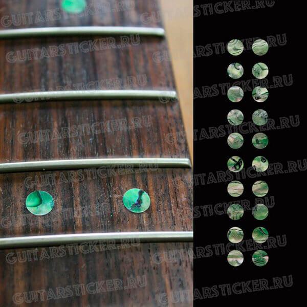 Купить точки на гриф цвета зеленый абалон
