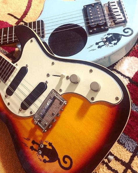 Кот наклейка на гитару
