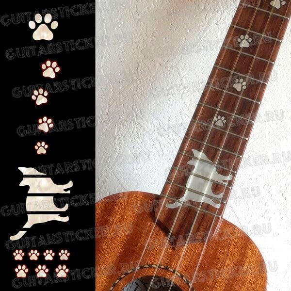 Купить комплект наклеек для укулеле следы кота