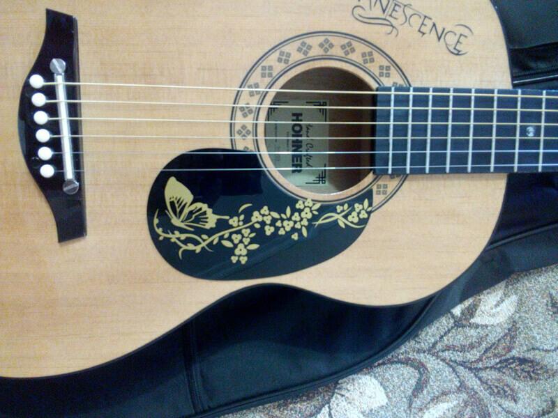 Купить наклейки с бабочкой и цветочками на деку гитары