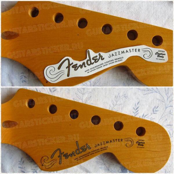 Восстановить гитару Fender Jazzmaster 1962-1964 купить оригинальные наклейки надписи на гитару