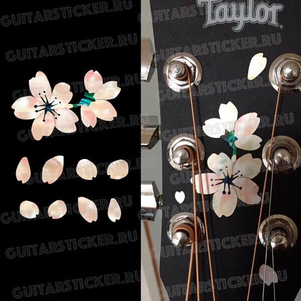 Купить наклейки с сакурой на гриф гитары