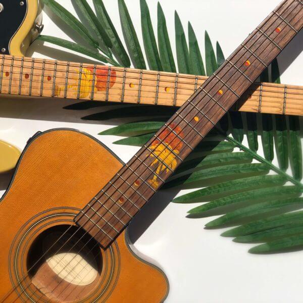 Пальмы и солнце на грифе гитары